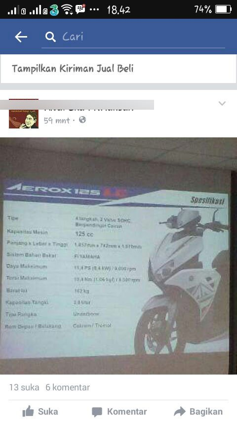 bocoran spesifikasi Yamaha Aerox 125