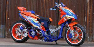 Modifikasi Honda BeAT Ekstrem Drag Ban lebar 1
